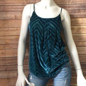 Lucky brand turquoise velvet zig-zag pattern tank